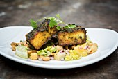 Tandoori Paneer Tikka on Chickpeas and Peanut Salad