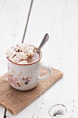 Homemade hot chocolate with whipped cream