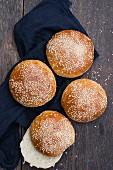 Homemade hamburger buns with sesame