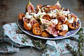 Fig salad with cheese and grilled apricots
