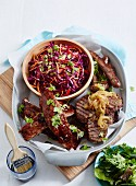 Barbecued Ribs and Sausages with Coleslaw