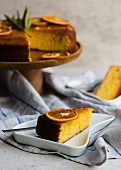 Orange polenta cake, sliced