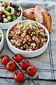 Tomato salsa with cucumbers and walnuts