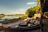 Lounge Area im Kings Pool Camp im Okavango-Delta, Botswana, Afrika