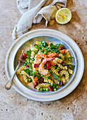 Pea, prawn and pea tendril fusilli with chorizo