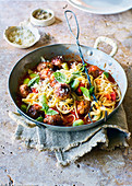 Spaghetti with pork and fennel meatballs