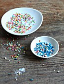 Colourful sugar beads and sprinkles for decorating cakes