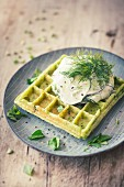 Pea waffles with soy yoghurt