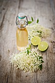 Elderflower syrup with limes