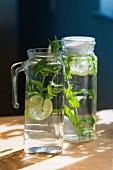 Elderflower water in glass jugs