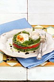 Cod salad with green beans, roasted peppers and poached eggs