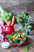 Broccoli and carrots salad with yogurt