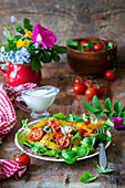 Roast cherry tomatoes and pepper salad