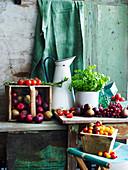 Sommerernte: Tomaten, Feigen, Kräuter, Trauben und Pflaumen