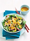 Salad with miso and ginger dressing