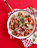 Cheese-Stuffed Meatballs with Spaghetti