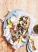 Middle Eastern Baked Trout with Tahini Dressing