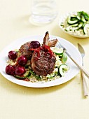 Spice crusted lamb with cherry sauce