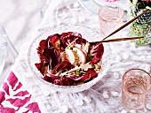 Roast Chicken Salad with Celeriac, Radicchio and Pink Grapefruit