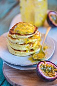 Pancakes with passion fruit spread