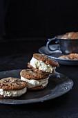 Chocolate tahini cookies with vanilla ice cream