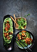 Avocado mousse with Cajun shrimps