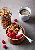 Muesli with oatmeal, cashews, rum coconut and raspberries