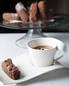 Double chocolate and bran rusks served with a caffe macchiato