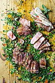 Sirloin steak with herbs and grilled bread