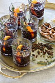 Mulled wine with orange peel