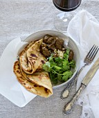 Lamb korma with flatbread (India)