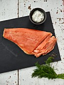 Graved salmon (pickled, smoked salmon) with a honey and dill sauce