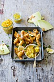 Tempura prawns with spicy mango and melon chutney