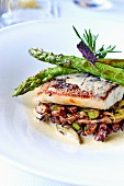 Sea bass with green asparagus