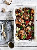 Leek, Chorizo, cauliflower and chicken bake