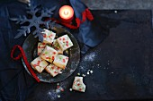 Shortbread with green, white and red sugar confetti for Christmas