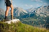 Hiking from the Schwarzenberg hut near Bad Hindelang to the Engeratsgundsee lake in Bavaria, Allgäu, Germany