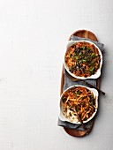 Sweet potato gratin with crispy kale
