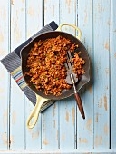 Sweet potato rosti in a pan