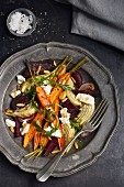 Roasted vegetable salad with buffalo mozzarella and arugula