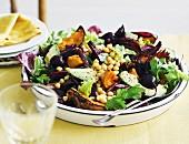 Vegeterian chickpea, pumpkin and beetroot salad