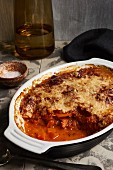Pumpkin parmigiana in a baking dish