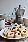 German cookies (butter biscuits filled with jam) served with coffee