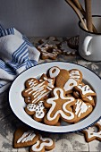 Gingerbread decorated with icing for Christmas