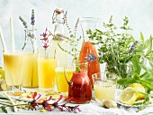 Various fruit juices with herbs and spices