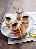 Tomato and goat's cheese trifle in glasses