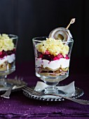 Russian herring trifle in a glass