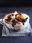 Vegan fruit bowl with cookies