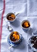 Chocolate cream with caramelised mandarin segments