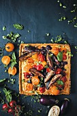Mediterranean vegetable tart with tomatoes and aubergines